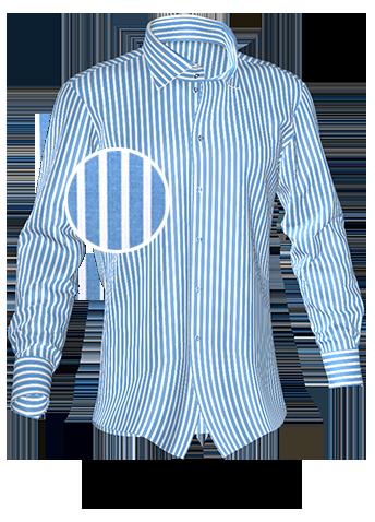 blau weiß gestreiftes Hemd