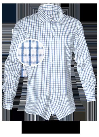 blau weiß kariertes Maßhemd