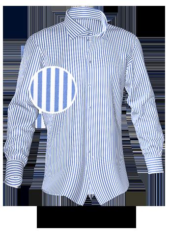 blau weiß gestreiftes Maßhemd