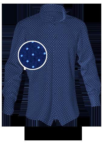blaues gepunktetes Hemd