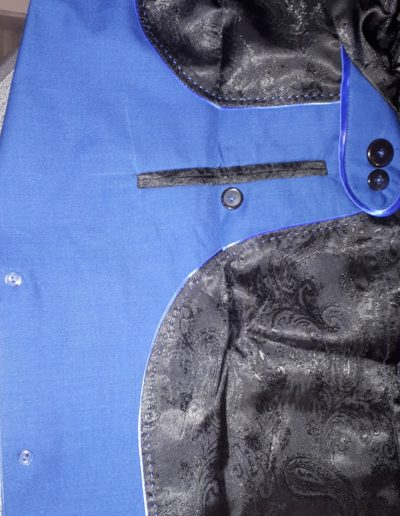 Businessline blaues Sakko schwarzes Paisley Innenfutter