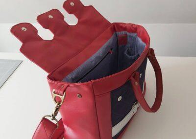 Handtasche Kunstleder blau rot
